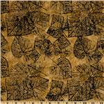 Tonga Batik Falling Leaves Stamped Leaves Gold