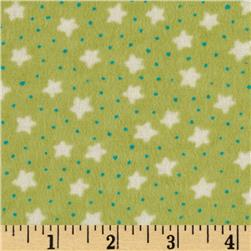 Perched Night Owlies Flannel Stars Lime
