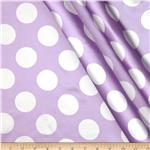0291721 Charmeuse Satin Large Polka Dots Lavender/White