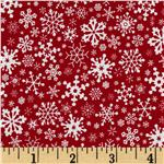 FO-220 Merry Christmas Snowflakes Red
