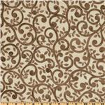 "EU-275 Normandy Court 108"" Quilt Backing Scrolling Vines Taupe/Cream"