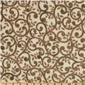 "Normandy Court 108"" Quilt Backing Scrolling Vines Taupe/Cream"