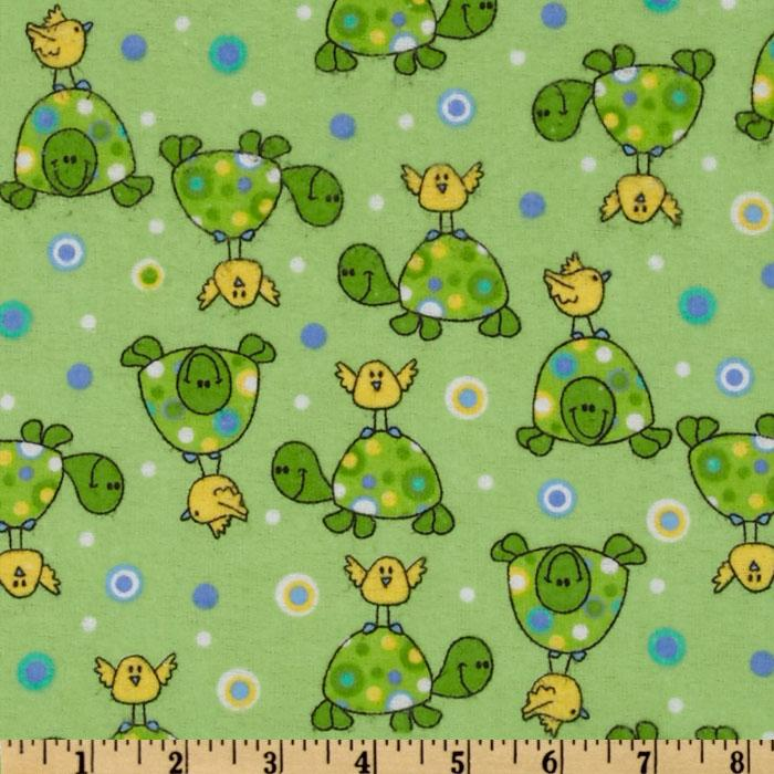 Comfy Flannel Turtle & Bird Green