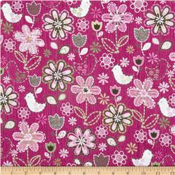 Stitches In Bloom Bird Floral Pink