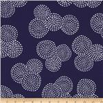 0290509 Michael Miller Stitch Floral Circle Navy