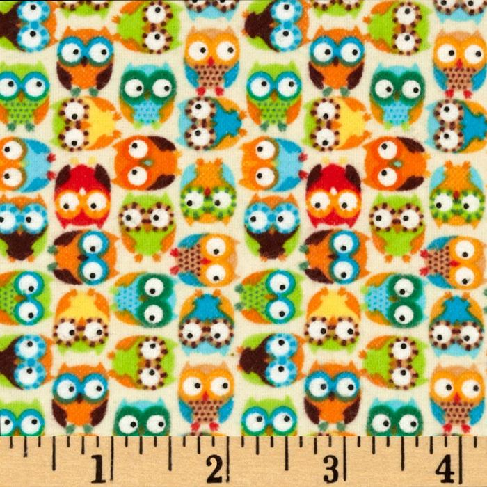 Cuddle Flannel Mini Owls Beige