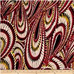 Van Gogh Rayon Challis Lines Red