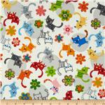 0264539 Creatures & Critters Tossed Cats White/Multi