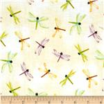 0273402 Water Lilies Dragonfly Yellow