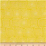 Michael Miller Stitch Floral Square Mustard