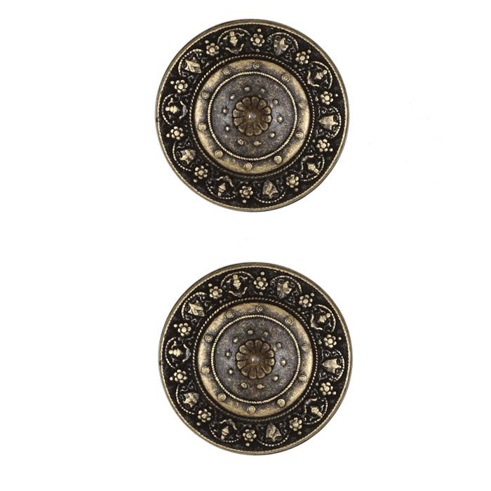 Metal Button 1'' Pointed Shield Brass
