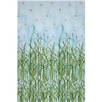 0273404 Water Lilies Single Border Print Cat Tails Blue