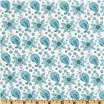 FO-035 Lites &amp; Brites Paisley Floral White/Aqua