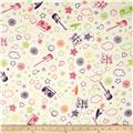 Printed Cotton Jersey Crayon Scribbles White/Multi