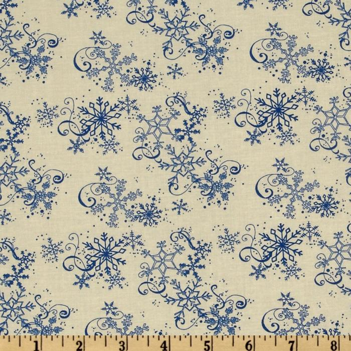 All Around The Town Snowflake Swirl Ivory/Blue