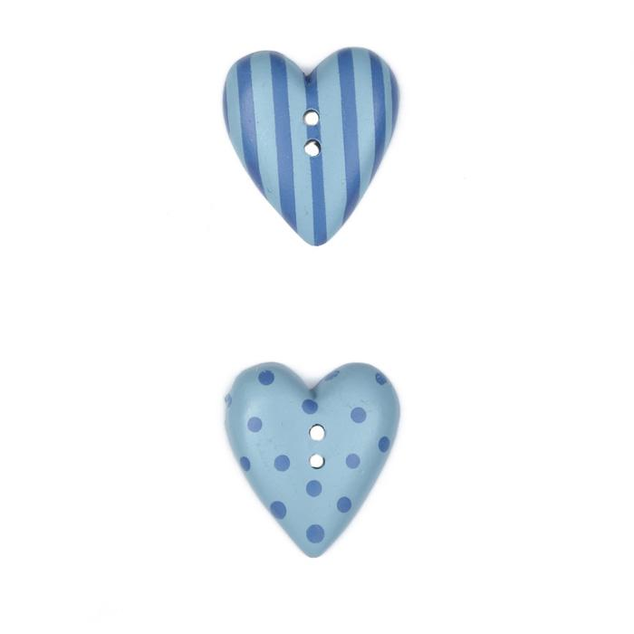 Novelty Button 3/4'' JB Hearts Blue