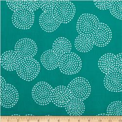Michael Miller Stitch Floral Circle Teal