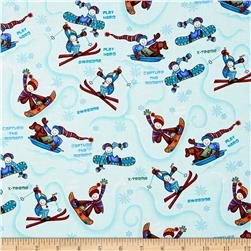 Winter Games Tossed Skiers Ice Blue