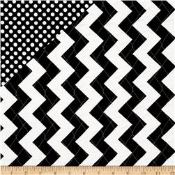 Riley Blake Double Sided Quilted Medium Chevron Black