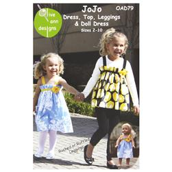 Olive Ann Jo Jo Top, Dress, Leggings & Doll Dress Pattern