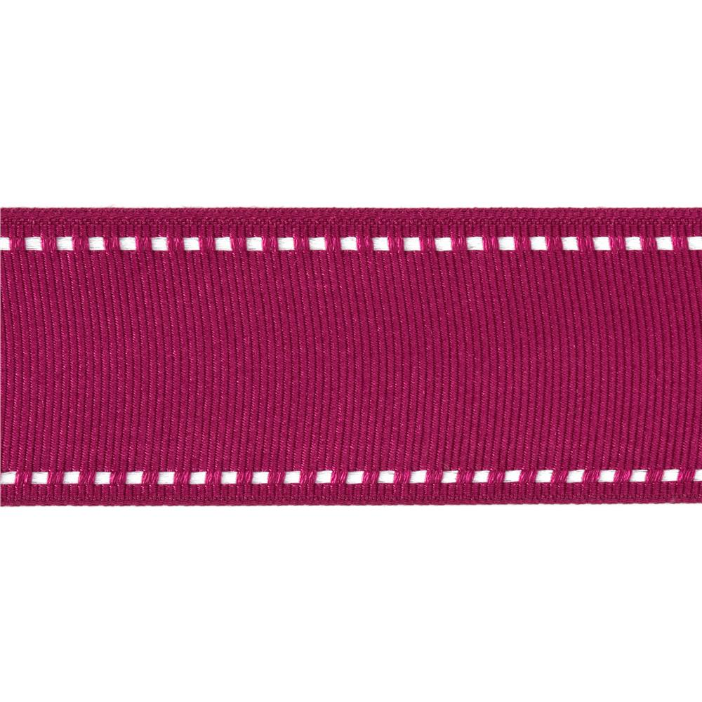 1 1/2'' Grosgrain Ribbon Saddle Stitch Fuchsia/White