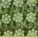 0269804 Indian Batik Floral Vine Aqua/Green
