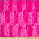 Embossed Rabbit Faux Fur Hot Pink
