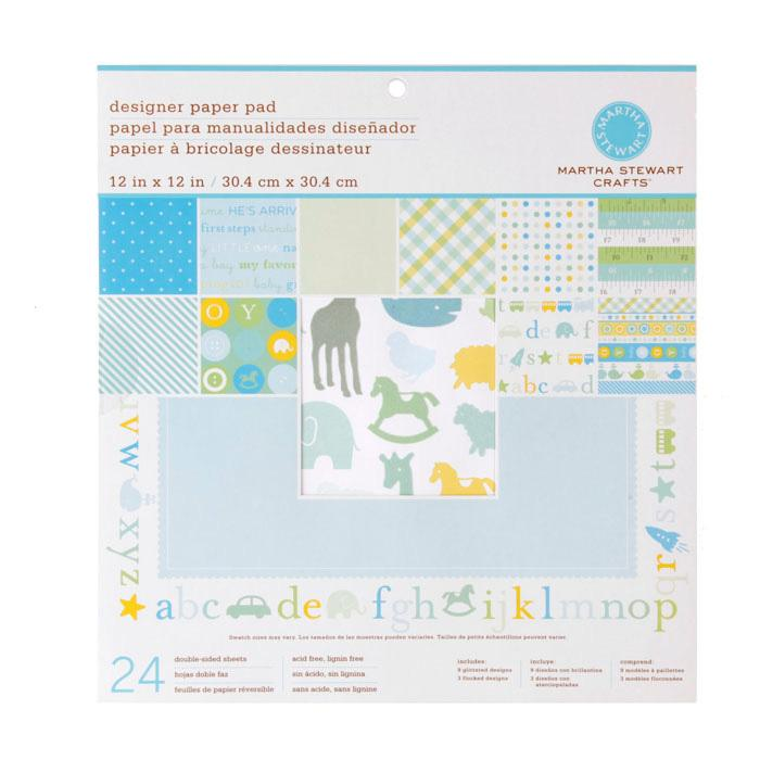 Martha Stewart Crafts Designer Paper Pad 12&quot; X 12&quot; Baby Boy