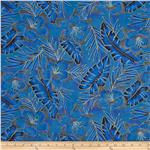 Hoffman Tropical Collection Hibiscus Tone on Tone Blue