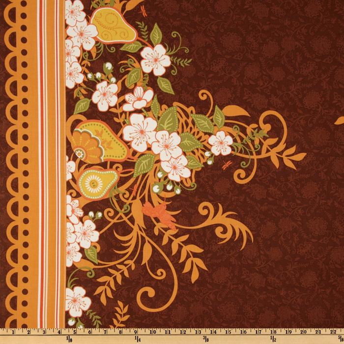 Riley Blake Decadence Lace Floral Double Border Chocolate