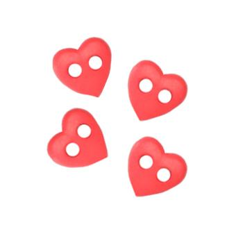 Novelty Button 1/4'' Baby Hearts Red