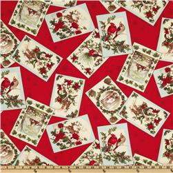 Moda Season's Greeting Tossed Cards Cardinal Red