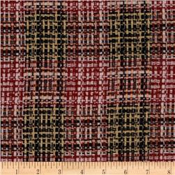 Wool Blend Coating Chunky Plaid Red/Gold