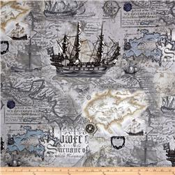 Kanvas Buried Treasure Nautical Map Storm Grey