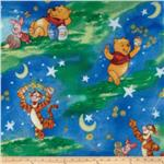 0268669 Disney Fleece Winnie The Pooh Starry Night Green/Blue