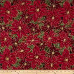 Winter Wishes Poinsettia Metallic Onyx/Gold