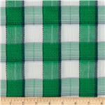 234183 Cotton Blend Shirting Pucker Plaid Green/Navy