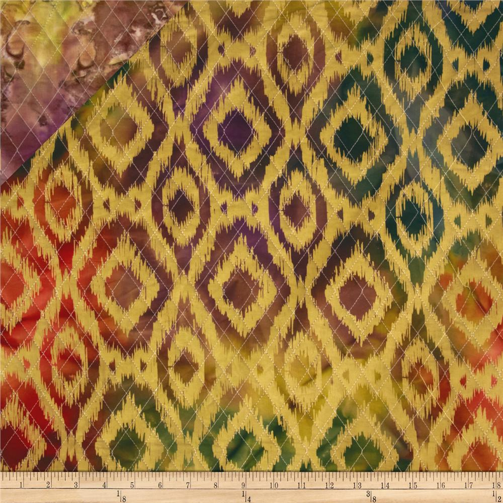 Double Sided Quilted Indian Batik Ikat Orange/Green