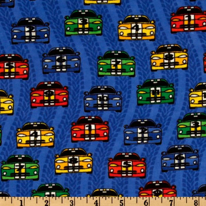 Camelot Flannel Racing Cars Blue