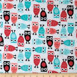 Kaufman Minky Cuddle Night Owl Watermelon/Topaz