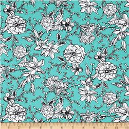 Modern Blooms Small Floral Teal
