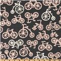 Michael Miller It's a Girl Thing Bicycles Bloom Grey