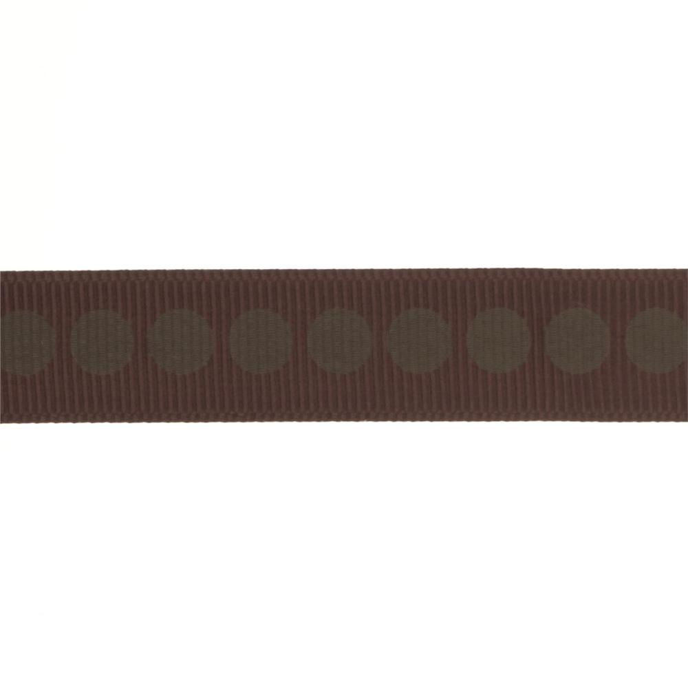 "Riley Blake 5/8"" Grosgrain Ribbon Polka Dot Brown"