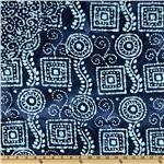 FP-864 Double Sided Quilted Batik Squares &amp; Circles Blue