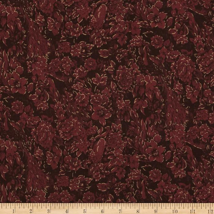 Peaceful Plumes Metallic Flourish Peacock Maroon