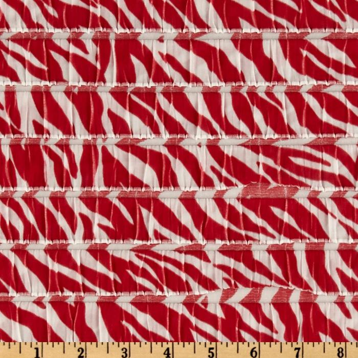Stretch Ruffle Knit Zebra Red