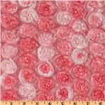 Honeycomb Satin Ribbon Rosette Taffeta Pink