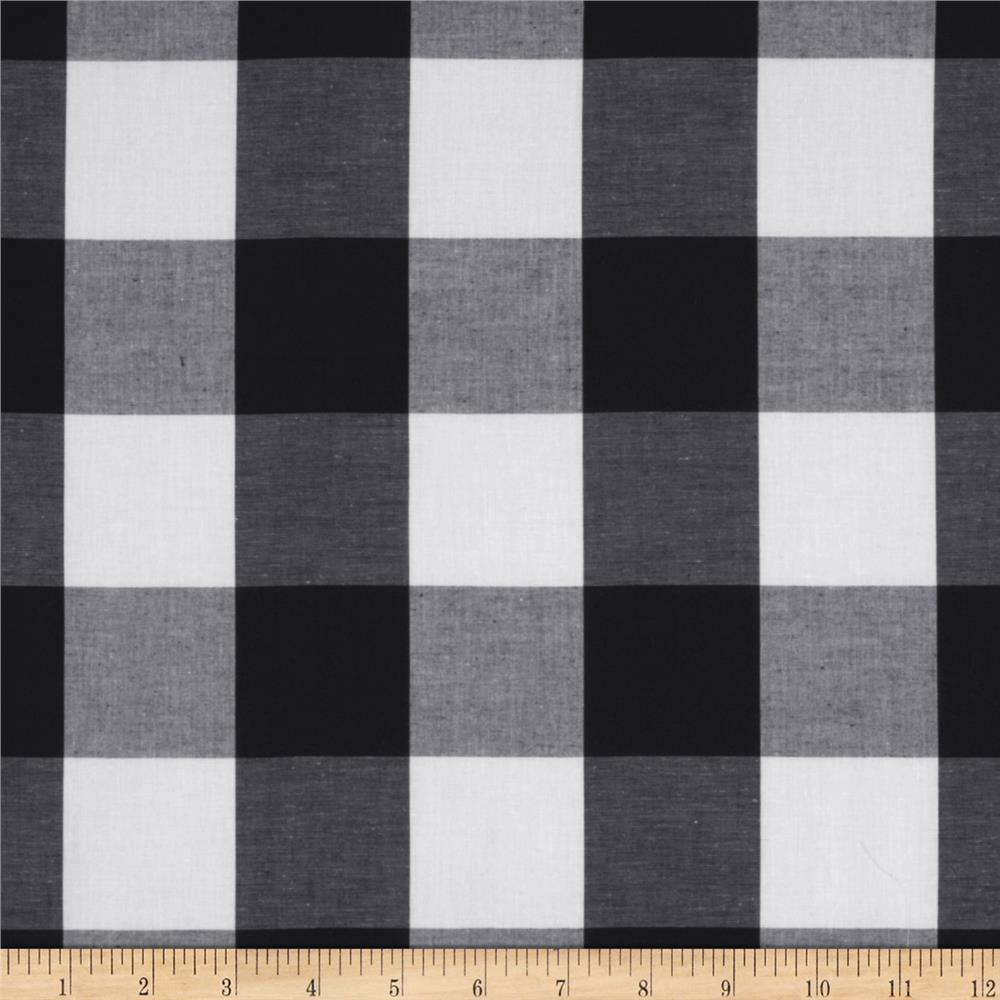 Stretch Yarn Dyed Shirting Large Check White/Black