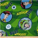 0268666 Disney Fleece Buzz and Woody Circles Green