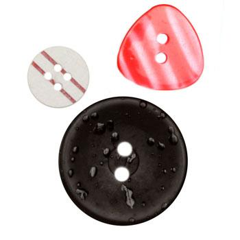 Fashion Buttons 1/2'', 3/4'', 1 1/8'' Coordinates Black/Red/White